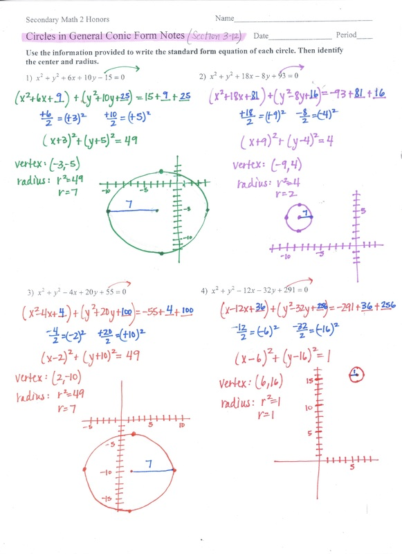 Conics Secondary Math 2 Honors